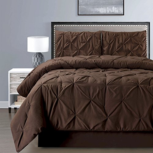 4 Pieces Double-Needle Stitch Goose Down Alternative Pinch Pleat Solid DARK BROWN Comforter Set KING Size Bedding - Hypoallergenic, Plush Siliconized Fiberfill (Brown Bedding Set)