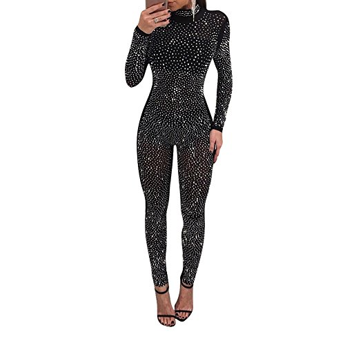 Womens Sexy Rhinestone See Through Mesh Party Cocktail Bodycon One Piece Jumpsuit Romper Clubwear Black M ()
