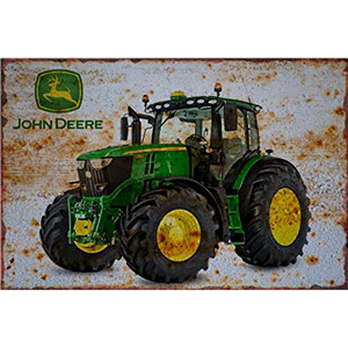 FlowerBeads Retro Metal Farm Tractor License Plate Vintage Wall Art Painting Plaque Poster Garage Home Decor Metal Tin Signs - 20X30Cm ()