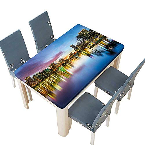 PINAFORE Polyester Table Cloth Famous Urban Downtown View of Orlando Florida EOLA Romantic Scene Blue Yellow Table W57 x L96.5 INCH (Elastic -
