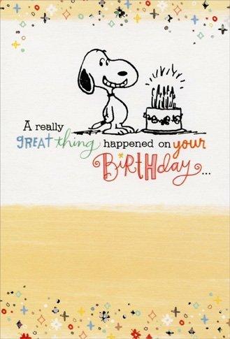 Snoopy: Great Thing Happened - Sunrise Greetings Peanuts Birthday Card -