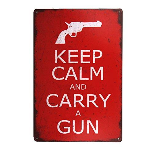 Metal Sign Decor (DL-Keep Calm and Carry a Gun vintage Metal Sign home decor tin art decor drip tray house wall art)