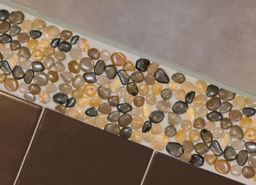 Great Ideas Garden Border Pebble Strips   Also For Tiled Bathroom / Kitchen    Pack Of 4 Strips   Mesh Backed   No More Loose Stones To Sweep!