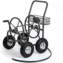 "Most Popular Selling Portable Rolling Heavy Duty Steel Hose Reel Cart With Storage Basket Handle- Rust Resistant Polystyrene Finish- Lightweight Frame Pneumatic Tires- 250'of 5/8"" Hose Capacity"