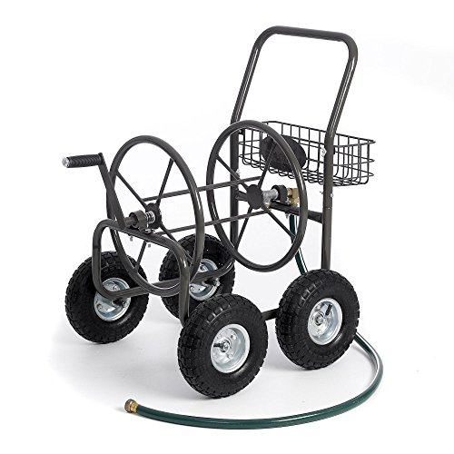Most Popular Selling Portable Rolling Heavy Duty Steel Hose Reel Cart With Storage Basket Handle- Rust Resistant Polystyrene Finish- Lightweight Frame Pneumatic Tires- 250'of 5/8