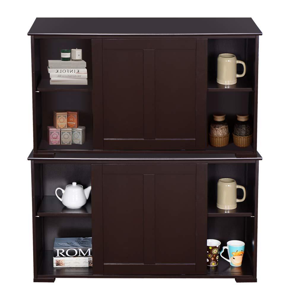 WATERJOY Kitchen Storage Sideboard, Stackable Buffet Storage Cabinet with Sliding Door Panels for Home Kitchen, Antique Brown by WATERJOY (Image #9)