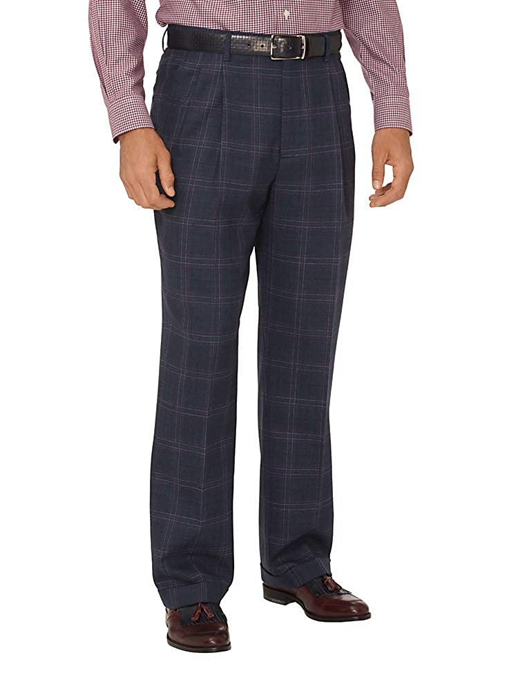 Men's Vintage Pants, Trousers, Jeans, Overalls Paul Fredrick Mens Wool Windowpane Pleated Suit Pants $139.95 AT vintagedancer.com