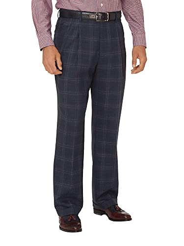 1920s Men's Pants, Trousers, Plus Fours, Knickers Paul Fredrick Mens Wool Windowpane Pleated Suit Pants Navy $99.98 AT vintagedancer.com