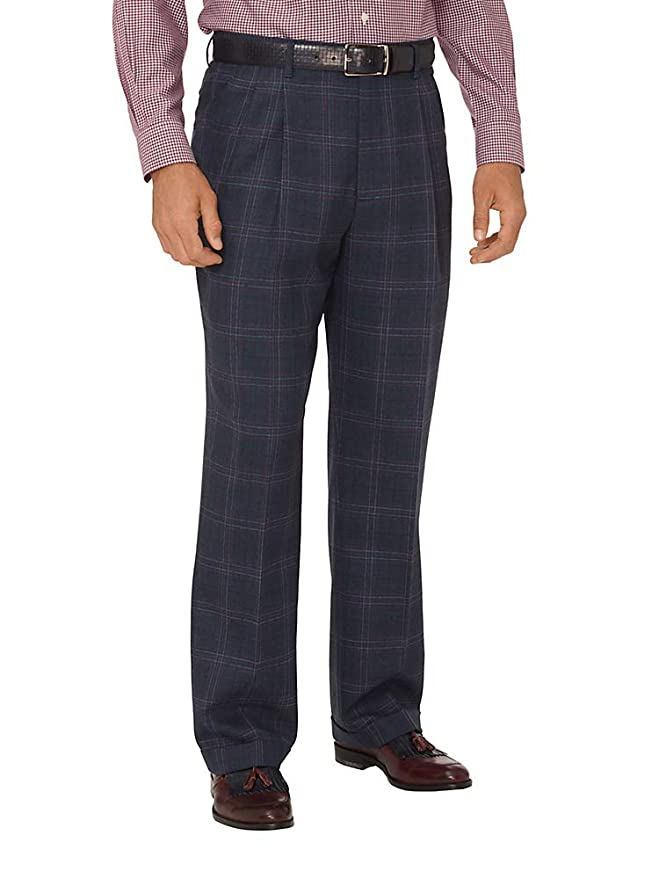 1950s Men's Pants, Trousers, Shorts | Rockabilly Jeans, Greaser Styles Paul Fredrick Mens Wool Windowpane Pleated Suit Pants $50.00 AT vintagedancer.com