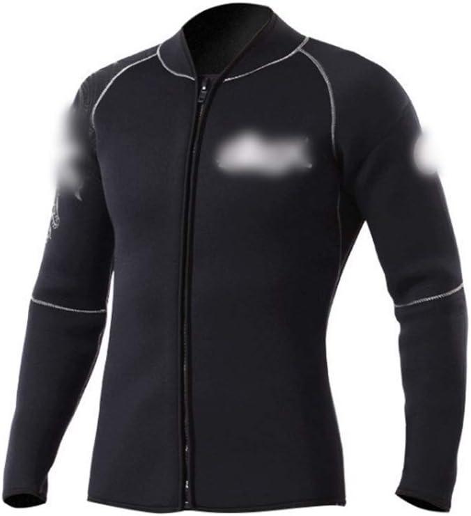 KingsleyW 分割3ミリメートルダイビングスーツジャケットスエード裏地暖かい分割ウェットスーツウェットスーツジャケット (色 : 黒, サイズ : S) 黒 Small