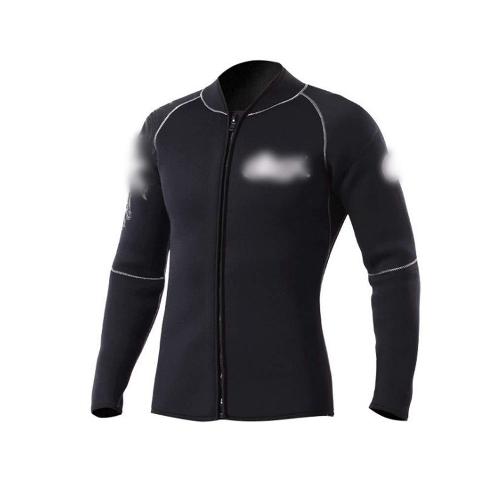 YIJUPIN 分割3ミリメートルダイビングスーツジャケットスエード裏地暖かい分割ウェットスーツウェットスーツジャケット (色 : 黒, サイズ : XXXL) B07SCXRN95 黒 XXXL