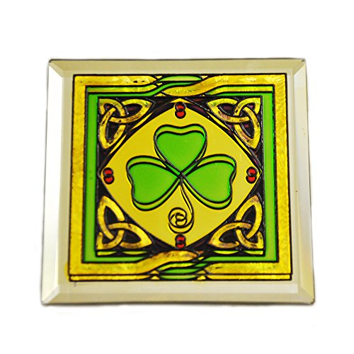 Carrolls Irish Gifts Stained Glass Loose Coaster With Shamrock Design