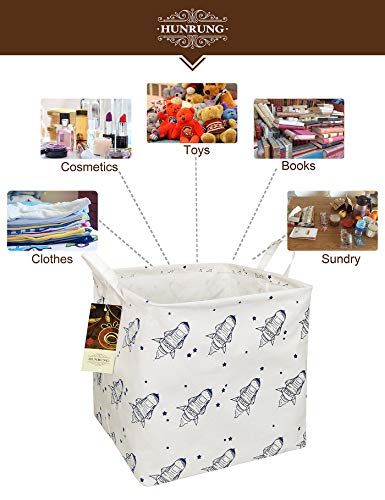 HUNRUNG Square Storage Bins Nursery Hamper Canvas Laundry Basket Foldable with Waterproof Nursery Boxes for Shelves/Gift Baskets/Toy Organizer/Office, Bedroom (Square-Space Airship)