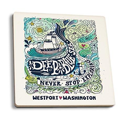 Westport, Washington - Watercolor Whale - Deep Blue Sea - Nautical Art (Set of 4 Ceramic Coasters - Cork-backed, (Westport Coffee Table)