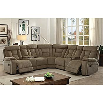 Furniture of America Daniah Reclining Sectional in Mocha  sc 1 st  Amazon.com & Amazon.com: Zavion Contemporary Caramel Color Fabric Sectional ... islam-shia.org