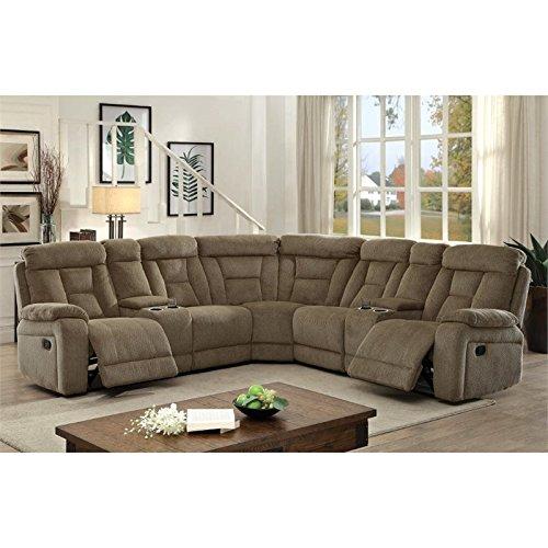 Furniture of America Daniah Reclining Sectional in Mocha