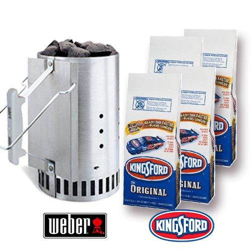 Starter Set (3.5Kgx4 bags) Weber Rapid Fire chimney starter (revitalization fire) and Kingsford original charcoal 4 bags set by WEBER X KINGSFORD