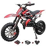 X-Pro 50cc Dirt Bike Gas Dirt Bike Kids Dirt Bikes Pit Bikes Youth Dirt Pitbike 50cc Mini Dirt Bike with Gloves, Goggle and Handgrip (Black)