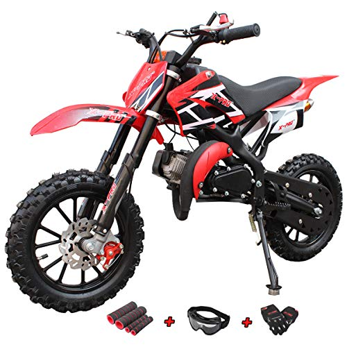 X-Pro 50cc Dirt Bike Gas Dirt Bike Kids Dirt Bikes Pit Bikes Youth Dirt Pitbike 50cc Mini Dirt Bike with Gloves, Goggle and Handgrip (Black) (Dirt Bike Kid)