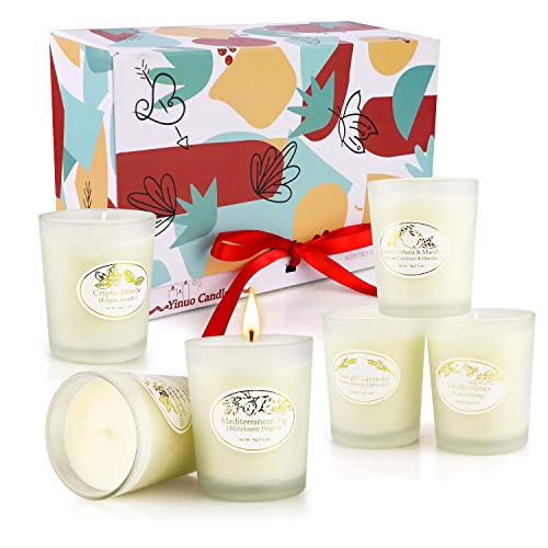 Scented Candles Gifts for Women, Aromatherapy Candles - Made with Luxury Natural Soy Wax, Bath Yoga Aromatherapy Relaxation Birthday Anniversary Gifts, 2.5 Oz Small Glass Jar (Pack of 6)