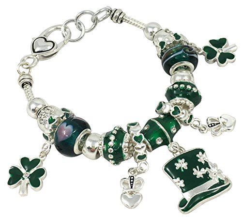 Glass Bead Charm Bracelet 7.5