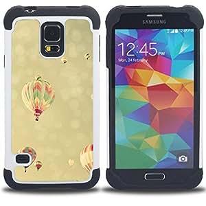 For Samsung Galaxy S5 I9600 G9009 G9008V - vignette hot air balloon yellow sky Dual Layer caso de Shell HUELGA Impacto pata de cabra con im??genes gr??ficas Steam - Funny Shop -