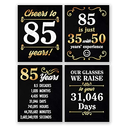 8x10 85th Birthday Decoration - Set of 4 Art Prints For Men and Women // Cheers to 85 Years Sign // Black and Gold