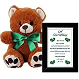 Irish Blessing Gift for an Anniversary, Birthday or St Patrick's Day - 4x6 Inch Black Frame and Plush 10 Inch Teddy Bear