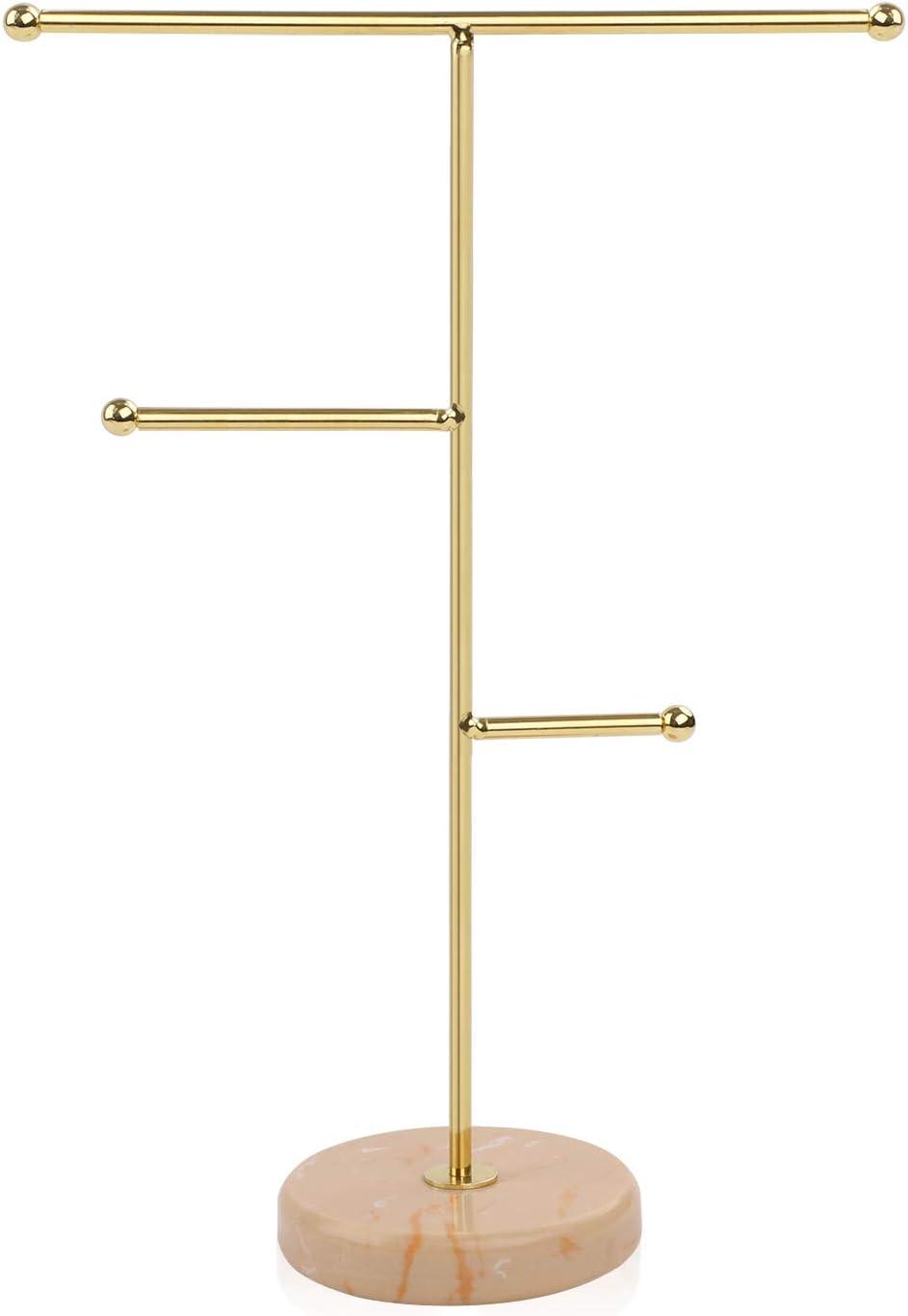 Organizador de joyas para colgar,collar de barra en T de metal,soporte de exhibición para el hogar,patrón de mármol bandeja redonda soporte de joyería para collares,pulseras,pendientes