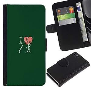 NEECELL GIFT forCITY // Billetera de cuero Caso Cubierta de protección Carcasa / Leather Wallet Case for Apple Iphone 4 / 4S // Amo Shotgun Zombie divertido