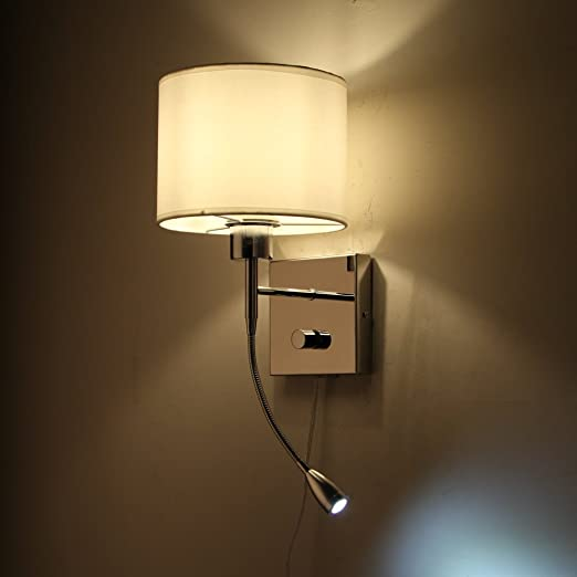 ONEPRE Modern Plug In Bedside Wall Light Hotel Style Polished Chrome ...