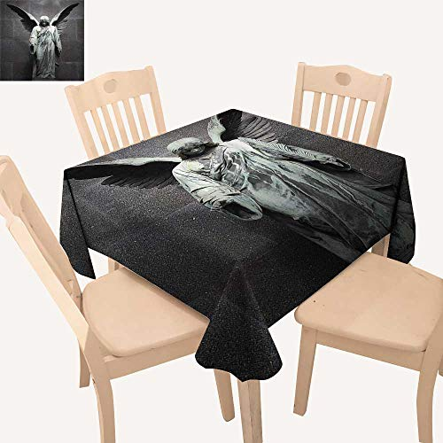 UHOO2018 Solid Tablecloth Sculpture of an Angel with Dark Background Catholic LIEF Century Old Artwork Square/Rectangle Spillproof Fabric Tablecloth,50x 50inch