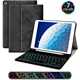 JUQITECH Backlit iPad Keyboard Case iPad Air 3 Wireless Detachable Bluetooth Tablet Keyboard