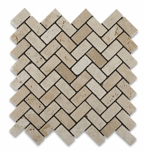 Ivory (Light) Travertine 1 X 2 Herringbone Mosaic Tile, Tumbled - Lot of 50 sq. ft. - Ivory Wall Tile