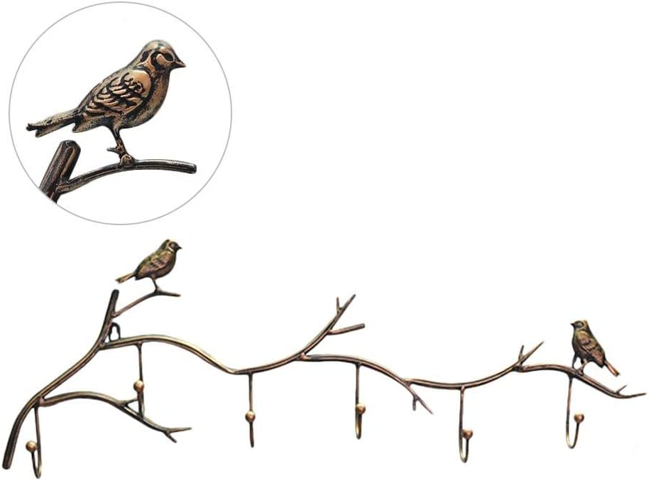 Gorgebuy Birds On tree Branch Hanger with 6 Hooks Clothes Hooks Rack Wall Mounted Rustic Iron Decorative Metal Design