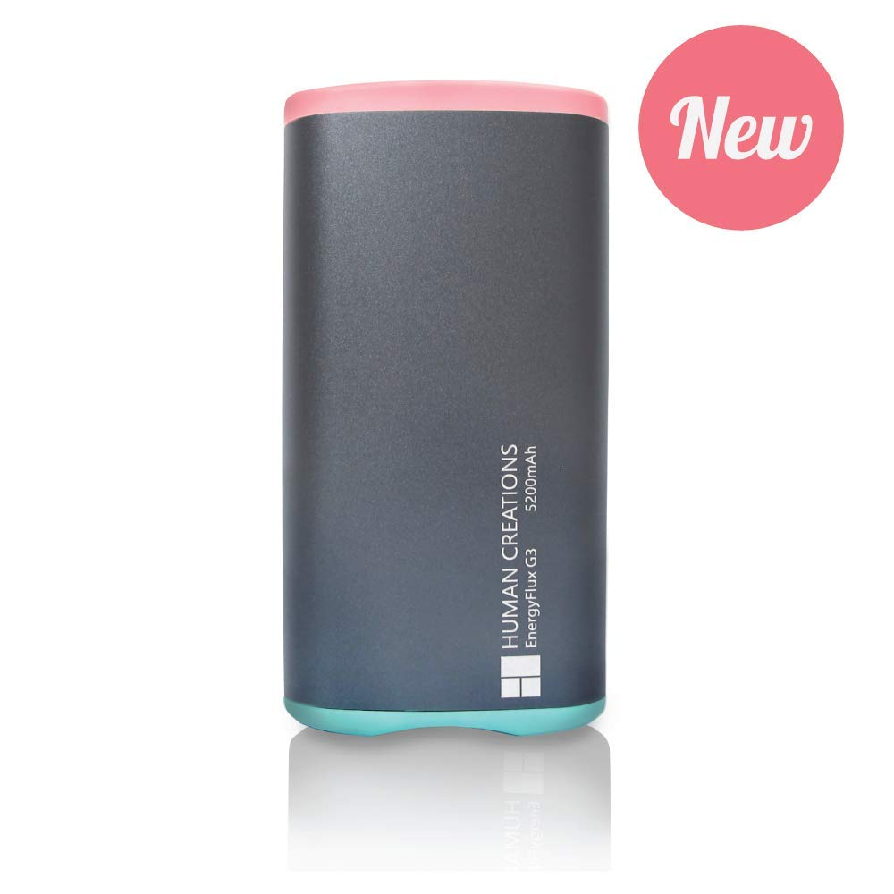 Human Creations EnergyFlux G3 Rechargeable Hand Warmer - Electric Hand Warmer with Powerbank - Wrap-Around Hot Pocket Warmer - Warm Hands for Men and Women (Pink-Turquoise, 5200mAh) by Human Creations