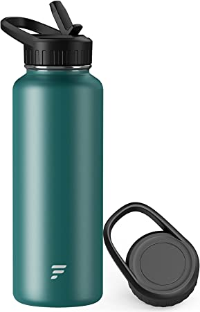 Letsfit Insulated Water Bottle with Straw and Handle Lids, Simple Vacuum Stainless Steel Water Flask with Wide Mouth, Modern Double Walled Mug Multiple Sizes and Colors