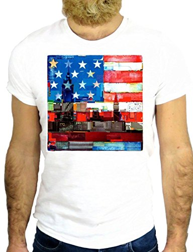 T SHIRT JODE Z2693 NEW YORK CITY USA AMERICA AMERICA FLAG NICE COOL TATTOO LOVE GGG24 BIANCA - WHITE L
