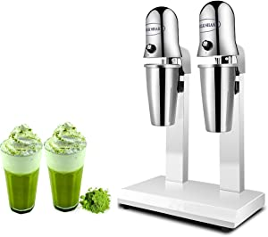 KUNHEWUHUA Dual Head Milkshake Soft Ice Cream Mixer Blender Cocktail Stainless Steel DrinkMaster Mixer (110v)