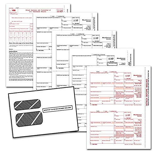 1099 Forms Order (2017 1099-MISC Income Set 4-Part, and 1096, Self Seal Envelopes, Kit for 25 Vendors)