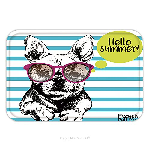 Flannel Microfiber Non-slip Rubber Backing Soft Absorbent Doormat Mat Rug Carpet Close Up Portrait Of French Bulldog Wearing The Sunglasses Bright Hello Summer French Bulldog 463465949 for - Designer Boots Sunglasses