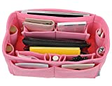 12 Pocket Felt Purse Organizer Bag Handbag Organizer Insert For Women Bag in Bag Speedy 30 and Speedy 35, Pink S