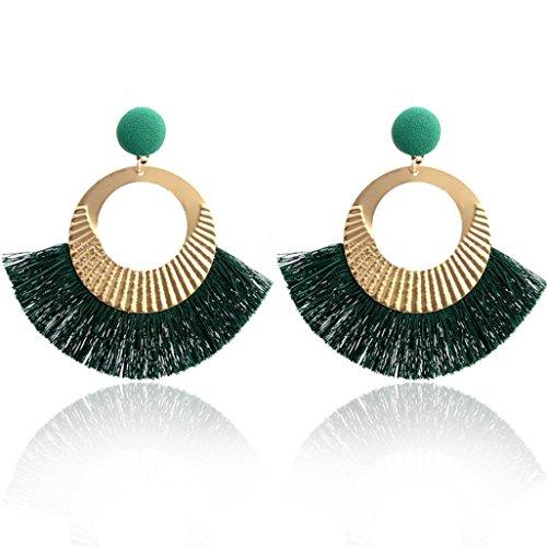 Hatoys Openwork Tassel Dangle Stud Earrings Jewelry (Green)