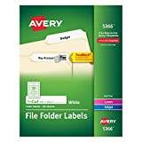 Avery File Folder Labels, TrueBlock Technology, Permanent Adhesive, 2/3'' x 3-7/16'', Box of 1,500, Case Pack of 5 (5366)