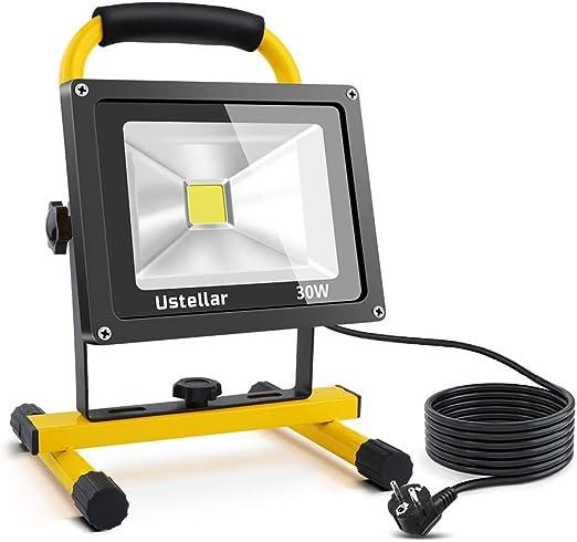 Ustellar Foco LED Portátil 30W, 2400LM Proyector LED Reflector de ...