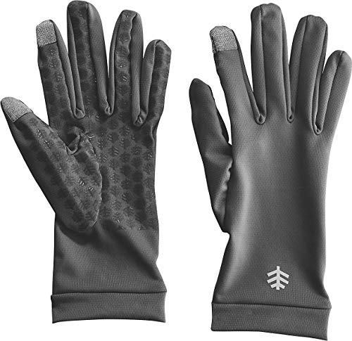 Coolibar UPF 50+ Unisex UV Gloves - Sun Protective (Small- Charcoal)