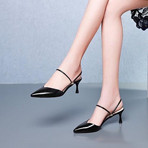 Alto Negro De Tamaño Ms Color Deslizador Zapatos Zapatillas Medio Acentuado Cuero Amarillo 35 De Fino ZCJB Baotou Tacón Sandalias UqOgt