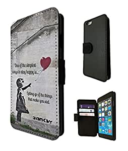 Banksy Grafitti Art Balloon Girl Quote Funky Design Fashion Trend Credit Card Holder Purse Wallet Book Style Tpu Leather Flip Pouch Case For All iphone 6 4.7'' / iphone 6 Plus 5.5'' / iphone 4 4S / iphone 5 5S / iphone 5C Full Case Flip Leather Stand Cover - Choose your Phone model from the drop box Below (iphone 5C) by ruishername