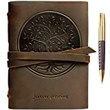 Leather Journal Tree of Life Notebook Embossed Handmade Travel Diary, A5 Vintage Writing Bound for Men For Women Genuine Antique Rustic Leather 6'x8' Engraved Paper Perfect for Notes Sketchbook + Pen