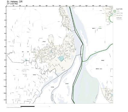 Amazon Com Zip Code Wall Map Of St Helens Or Zip Code Map